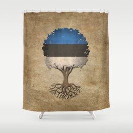 Vintage Tree of Life with Flag of Estonia Shower Curtain