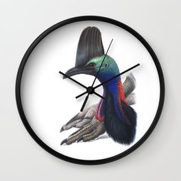 Southern Cassowary, tropical bird in the nature of Australia, New Zealand & Indonesia Wall Clock