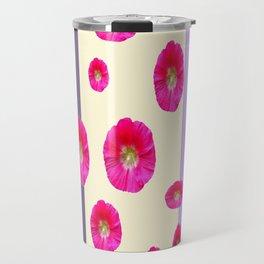 PINK-CERISE ASSORTED FLOATING HOLLYHOCK FLOWERS Travel Mug