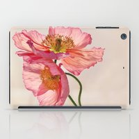 jazzberry iPad Cases featuring Like Light through Silk - peach / pink translucent poppy floral by micklyn