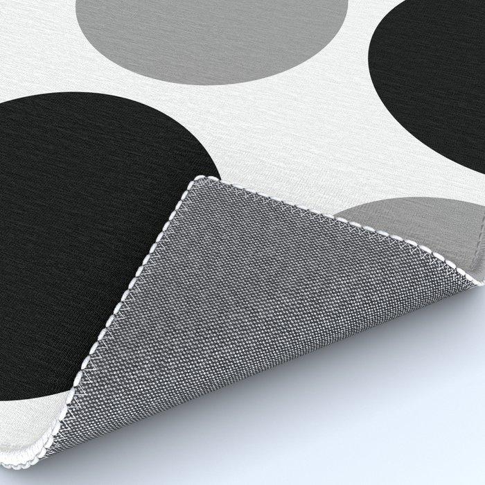 Mid Century Modern Polka Dot Pattern 9 Black and Gray Rug