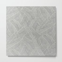 ABSTRACT LEAVES WHITE Metal Print