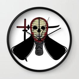 Skeleton Skull Wearing Japanese Kendo Fighting Mask Wall Clock