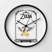 legend of zelda Wall Clocks featuring Zelda legend - Navi by Art & Be