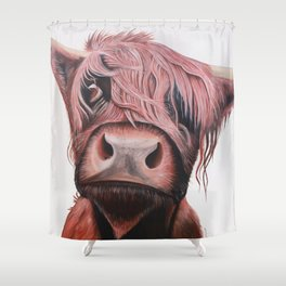 Highland Cow Art Print. Scottish Native Cow Wall Art. Shower Curtain