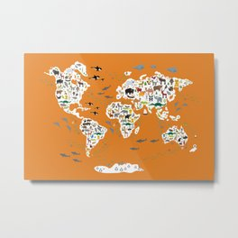 Cartoon animal world map for children, kids, Animals from all over the world, back to school, orange Metal Print