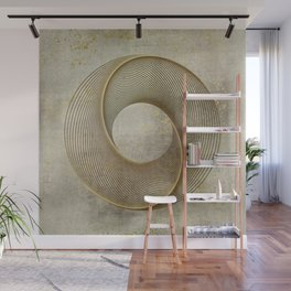 Geometrical Line Art Circle Distressed Gold Wall Mural