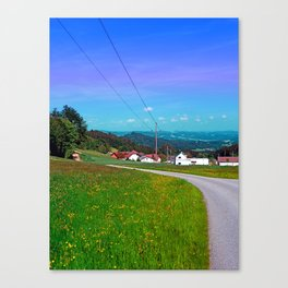 Country road, powerlines, and lots of scenery Canvas Print