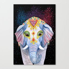 Indian Holi Elephant Watercolor and Acrylic Painting Canvas Print