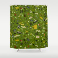 moonrise kingdom Shower Curtains featuring Moonrise Kingdom plot pattern by QRS Patterns