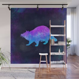 RACCOON IN SPACE // Animal Graphic Art // Watercolor Canvas Painting // Modern Minimal Cute Wall Mural