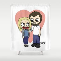lovers Shower Curtains featuring lovers by kaylieghkartoons