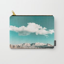 Vintage Desert Snow Cloud // Scenic Desert Landscape in Winter Fluffy Clouds Snow Mountains Cacti Carry-All Pouch
