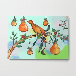Partridge in a pear tree Metal Print