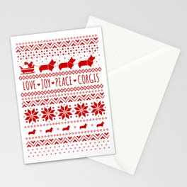 Love, Joy, Peace, Corgis | Humorous Dogs Christmas Pattern Stationery Cards