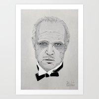 godfather Art Prints featuring Godfather by Zé gouveia
