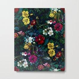 Flowers and Skeletons Metal Print