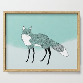 Fox in the snow – Animal Illustration – Kitsune in snow scene – vintage colors – antiqued colors Serving Tray