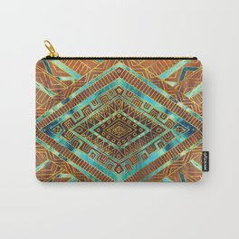 Tribal  Ethnic Boho Pattern burnt orange and gold Carry-All Pouch