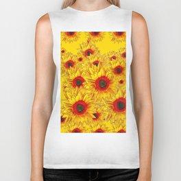 Golden Color Red Center Yellow Sunflower Art Biker Tank
