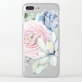 Succulent Blooms Clear iPhone Case