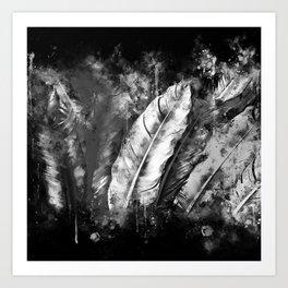 black white bird feathers watercolor splatters Art Print
