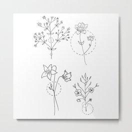 Geometrical Wildflower Bouquet Quartet Metal Print