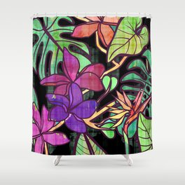 Tropical leaves and flowers, jungle print Shower Curtain