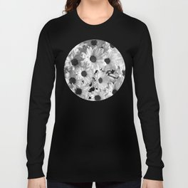 Daisy Chaos in Black and White Long Sleeve T-shirt