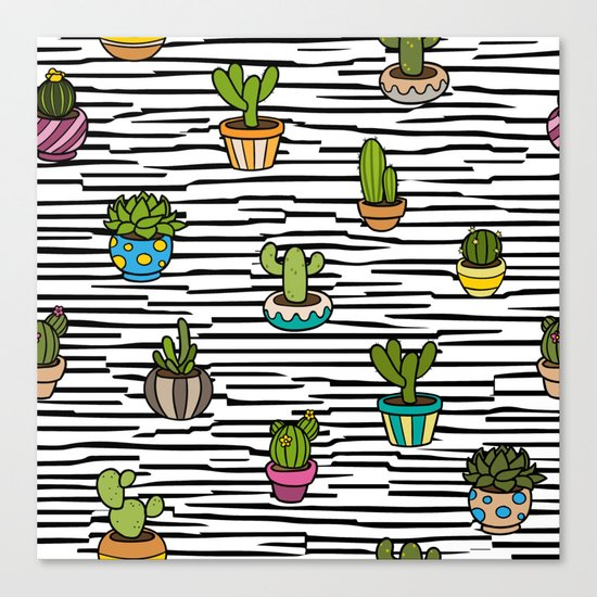 Cacti Pattern Canvas Print