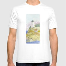 Peaceful Lighthouse II White MEDIUM Mens Fitted Tee
