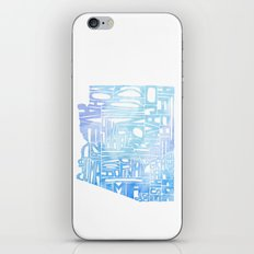 Typographic Arizona - Blue Watercolor iPhone & iPod Skin