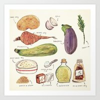 vegetables Art Prints featuring Vegetables by Juliana Cuervo