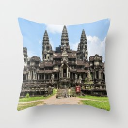 Angkor Wat East Entrance, Cambodia Throw Pillow