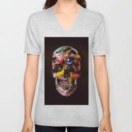Hot Rod Skull Dark Unisex V-Neck