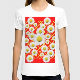 White-Yellow Shasta Daisies Red Pattern Art T-shirt