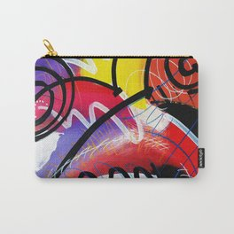I Feel Fine - Whirly Swirls Splashy Aqua Turquoise Blue Red Yellow  Fine Art Abstract Painting Carry-All Pouch