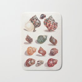 Unknown Title by Maria Sibylla Merian // Vintage Sea Shells Colorful Shapes and Sizes with Shadows Bath Mat