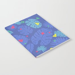 Palm Leaves Blue Confetti Notebook