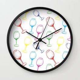 Print with wine glasses. Drawn colored wine glasses on white. Multicolor Wall Clock