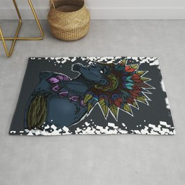 Dark man handsome character, folk style, Indian, colourful design Rug