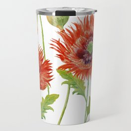 Watercolor Fringed Red Poppies Travel Mug