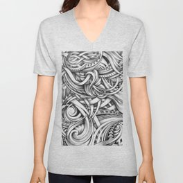 Escher Like Abstract Hand Drawn Graphite Gray Depth Unisex V-Neck