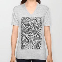 Escher Like Abstract Hand Drawn Graphite Gray Depth Unisex V-Neck