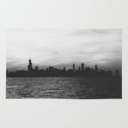 Black and White Chicago Seascape Rug