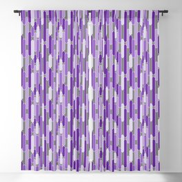 Modern Tabs in Purple and Lavender on Gray Blackout Curtain