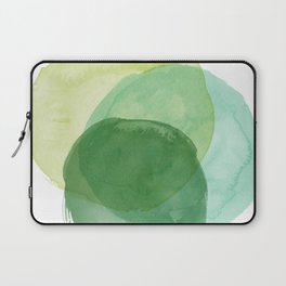 Abstract Organic Watercolor Shapes Painting in Green Laptop Sleeve