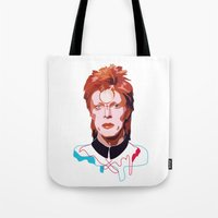 david bowie Tote Bags featuring Bowie by Anna McKay