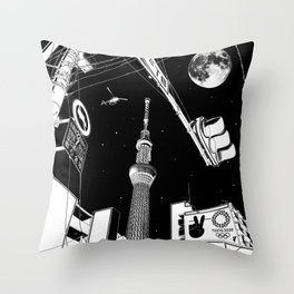 Night in Tokyo 2020 Throw Pillow