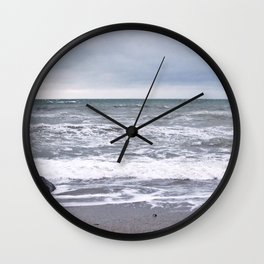 Cloudy Day on the Beach Wall Clock